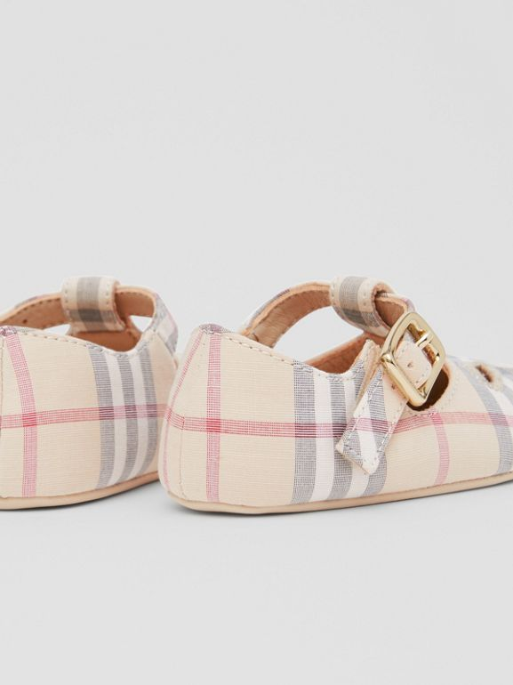 Check Cotton and Leather T-bar Shoes in Pale Stone - Children | Burberry - cell image 1