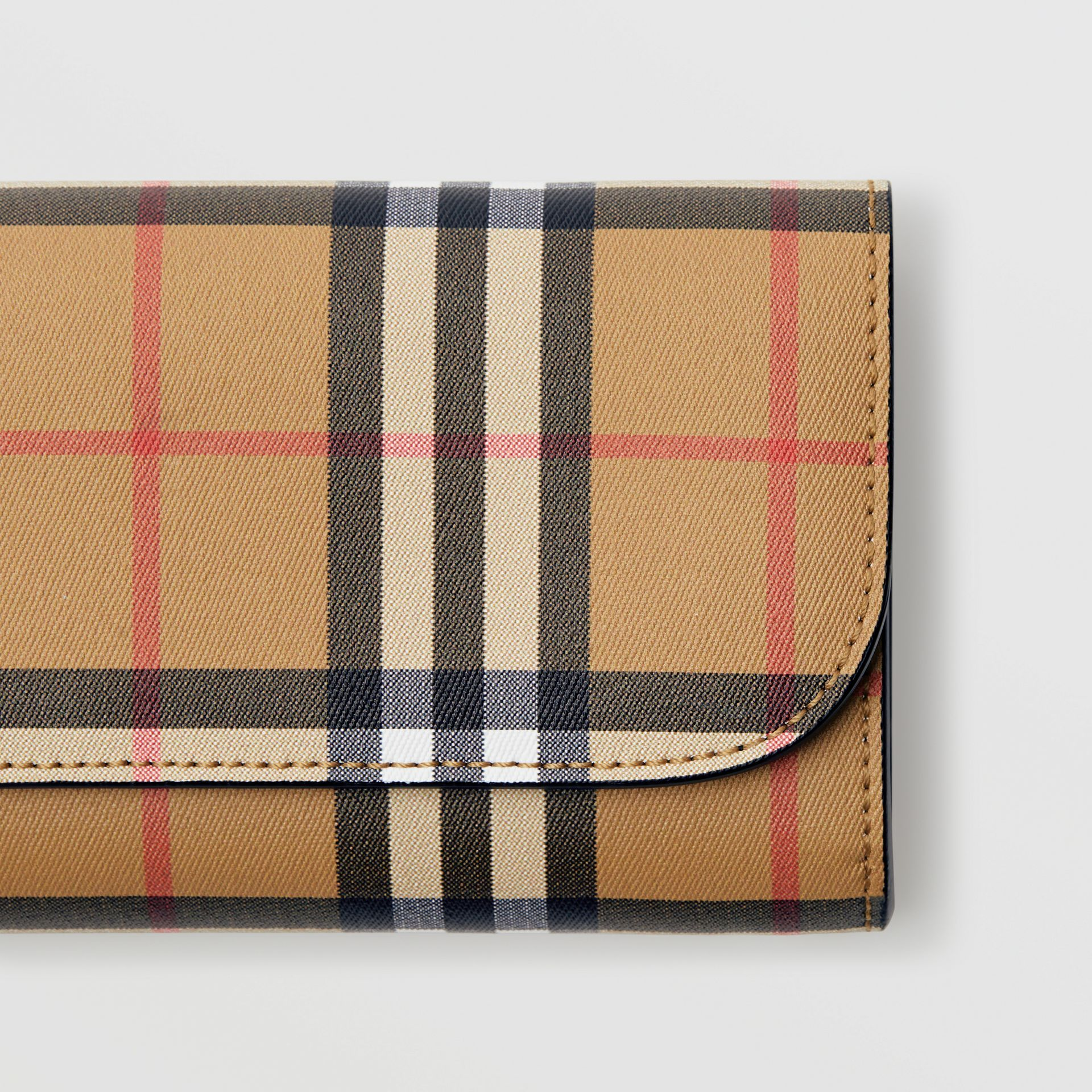 Vintage Check and Leather Continental Wallet in Black - Women | Burberry United Kingdom - gallery image 1