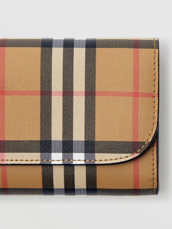 Vintage Check and Leather Continental Wallet in Black - Women | Burberry United Kingdom - cell image 1