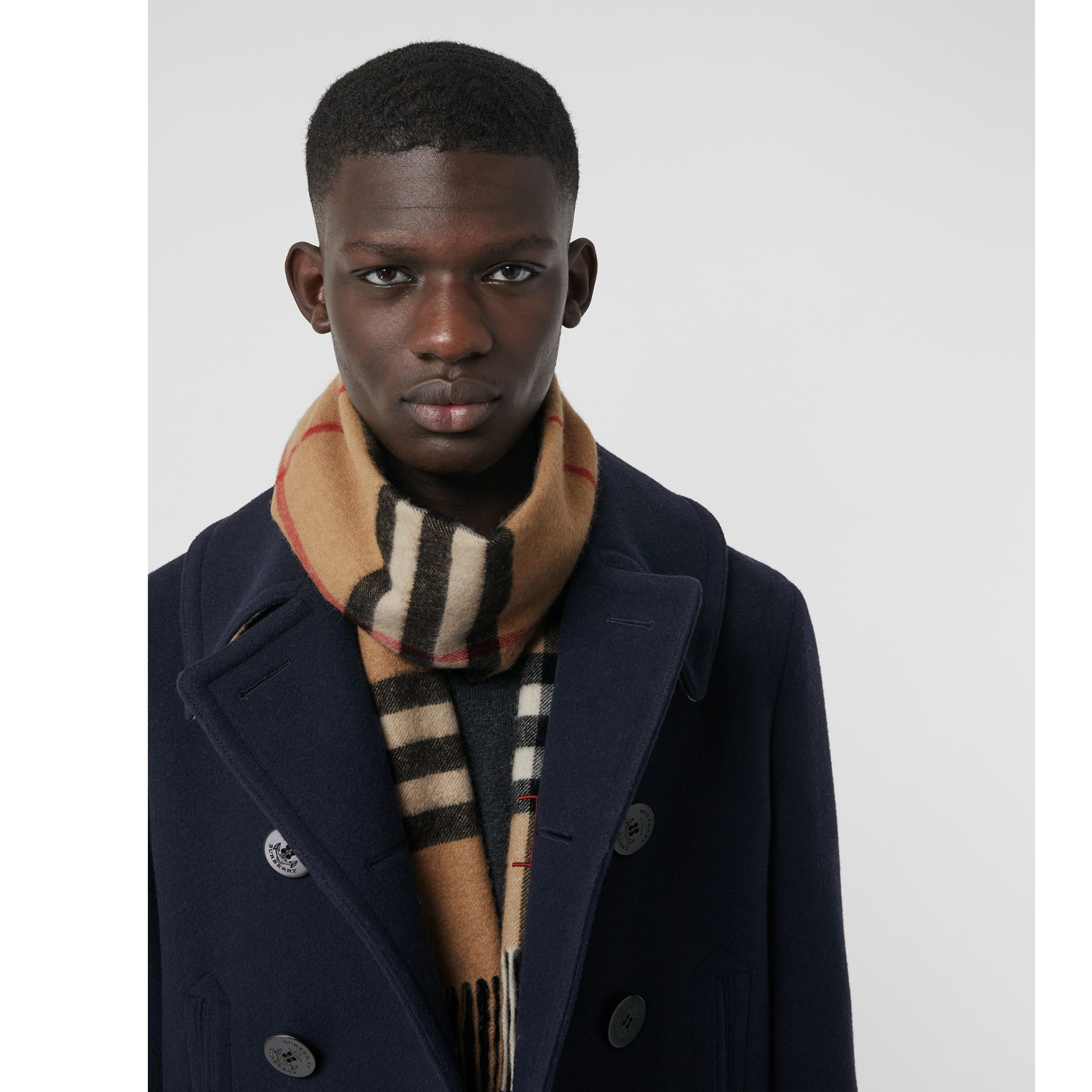 The Classic Check Cashmere Scarf in Camel | Burberry United States - gallery image 5