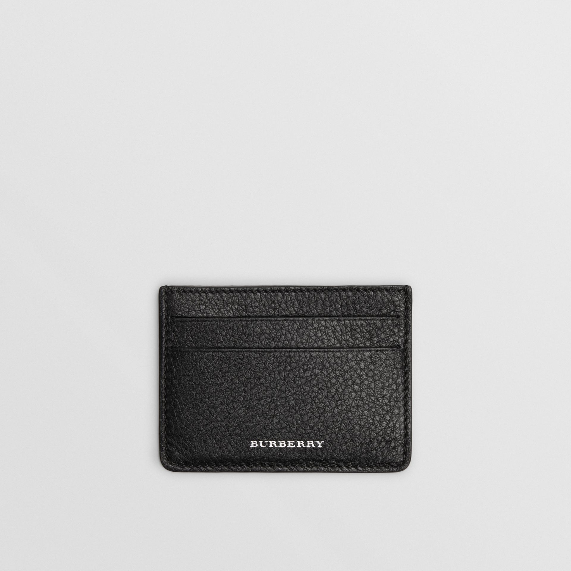 Grainy Leather Card Case in Black | Burberry - gallery image 0