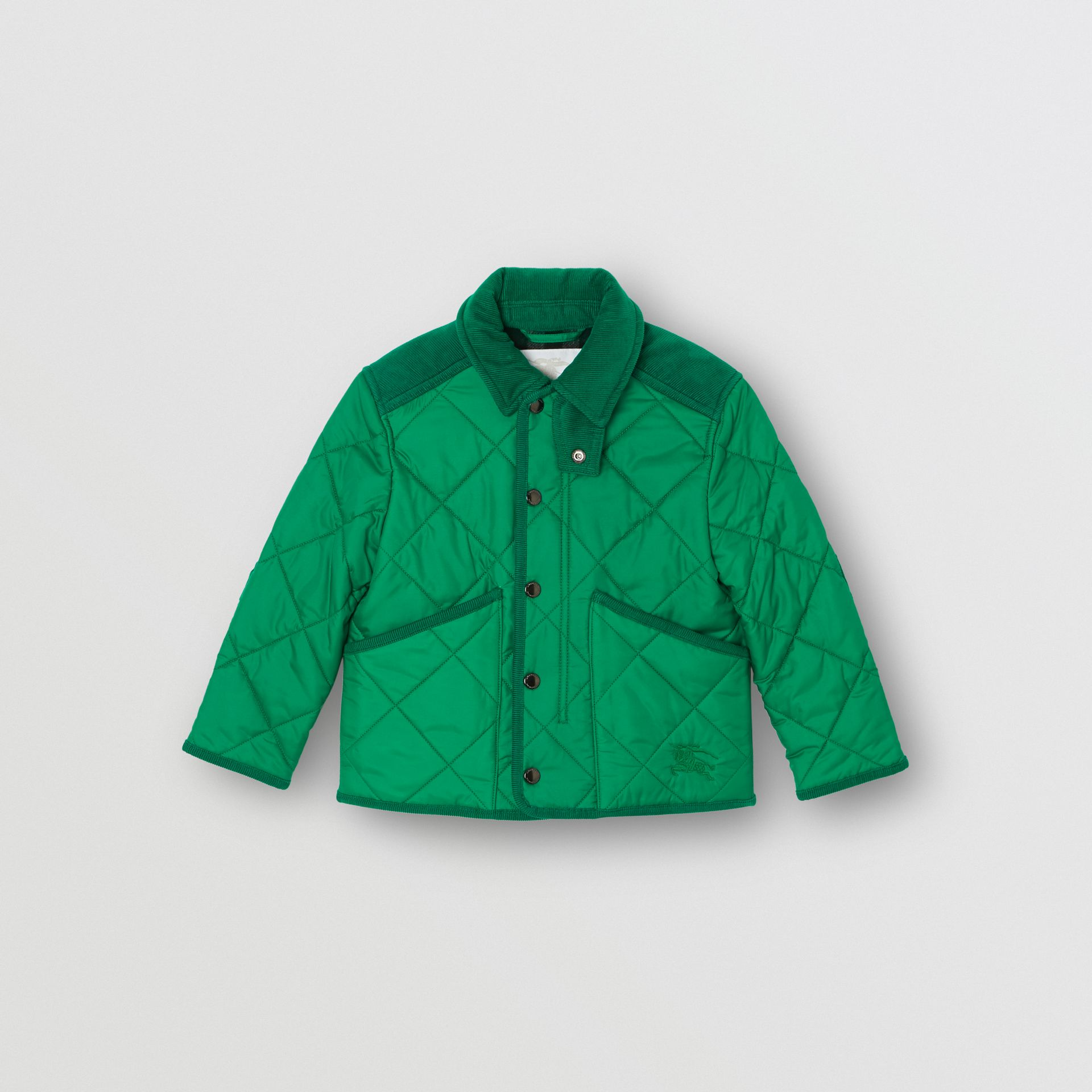 Corduroy Trim Diamond Quilted Jacket in Vibrant Green | Burberry - gallery image 0