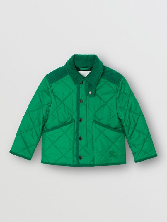 Corduroy Trim Diamond Quilted Jacket in Vibrant Green
