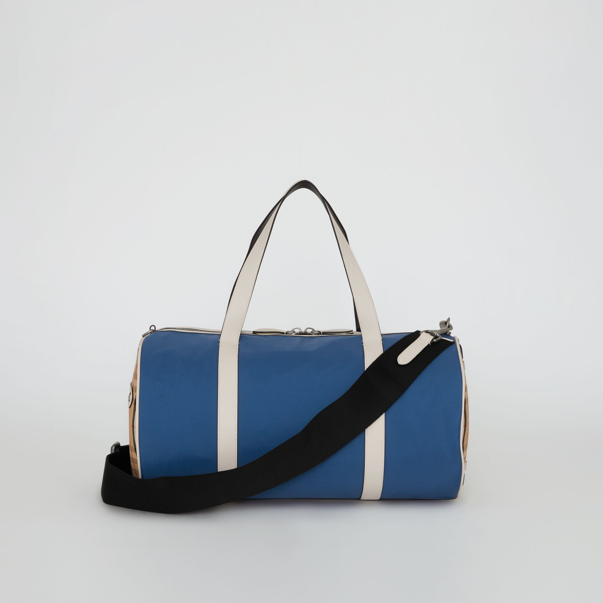 Medium Colour Block Vintage Check Barrel Bag in Dark Canvas Blue - Men | Burberry Singapore - gallery image 7