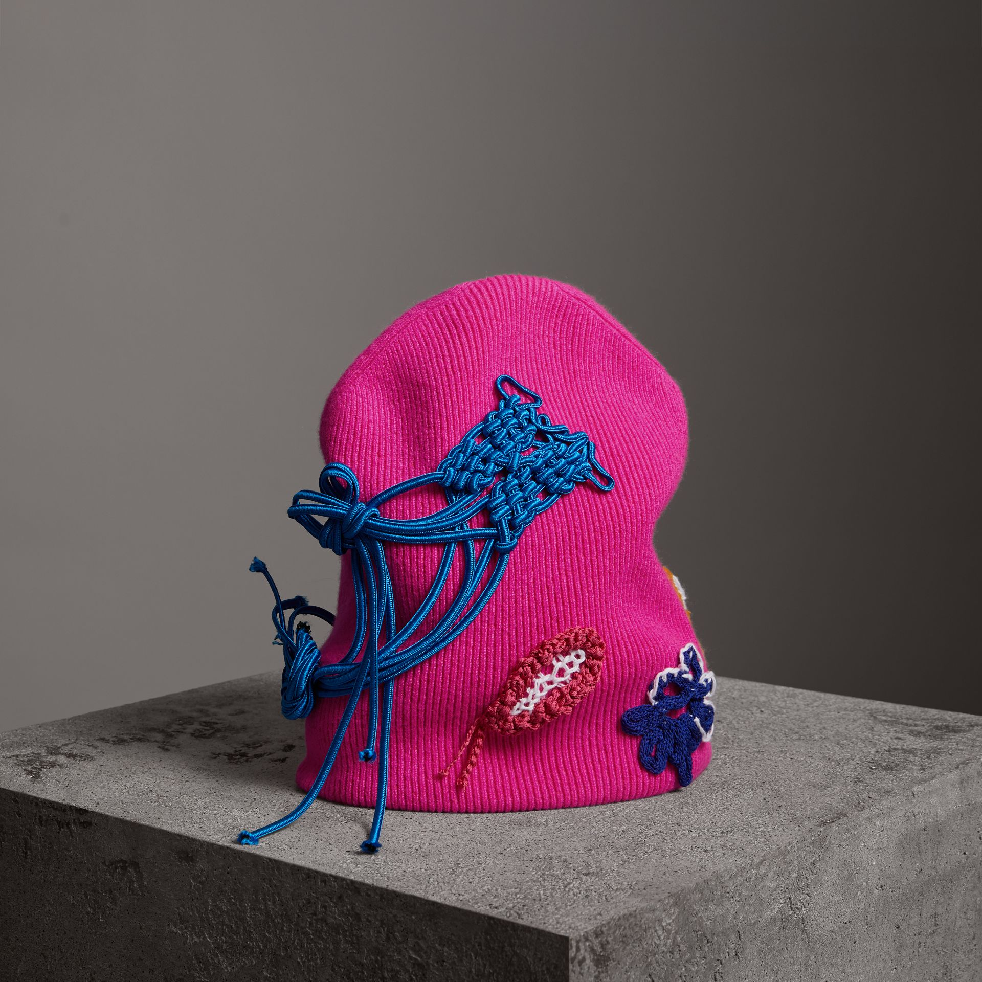 Floral Crochet Cashmere Blend Beanie in Fuchsia Pink | Burberry United Kingdom - gallery image 0