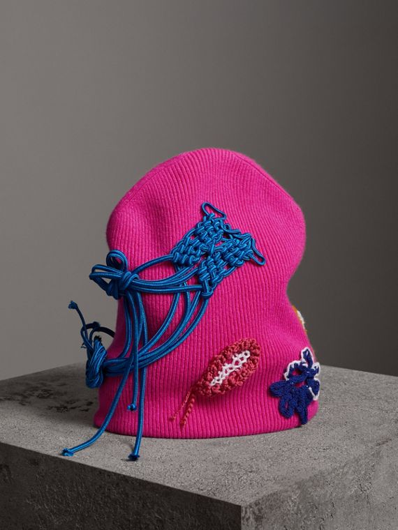 Floral Crochet Cashmere Blend Beanie in Fuchsia Pink