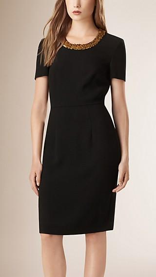 Embellished Satin-Back Crepe Shift Dress