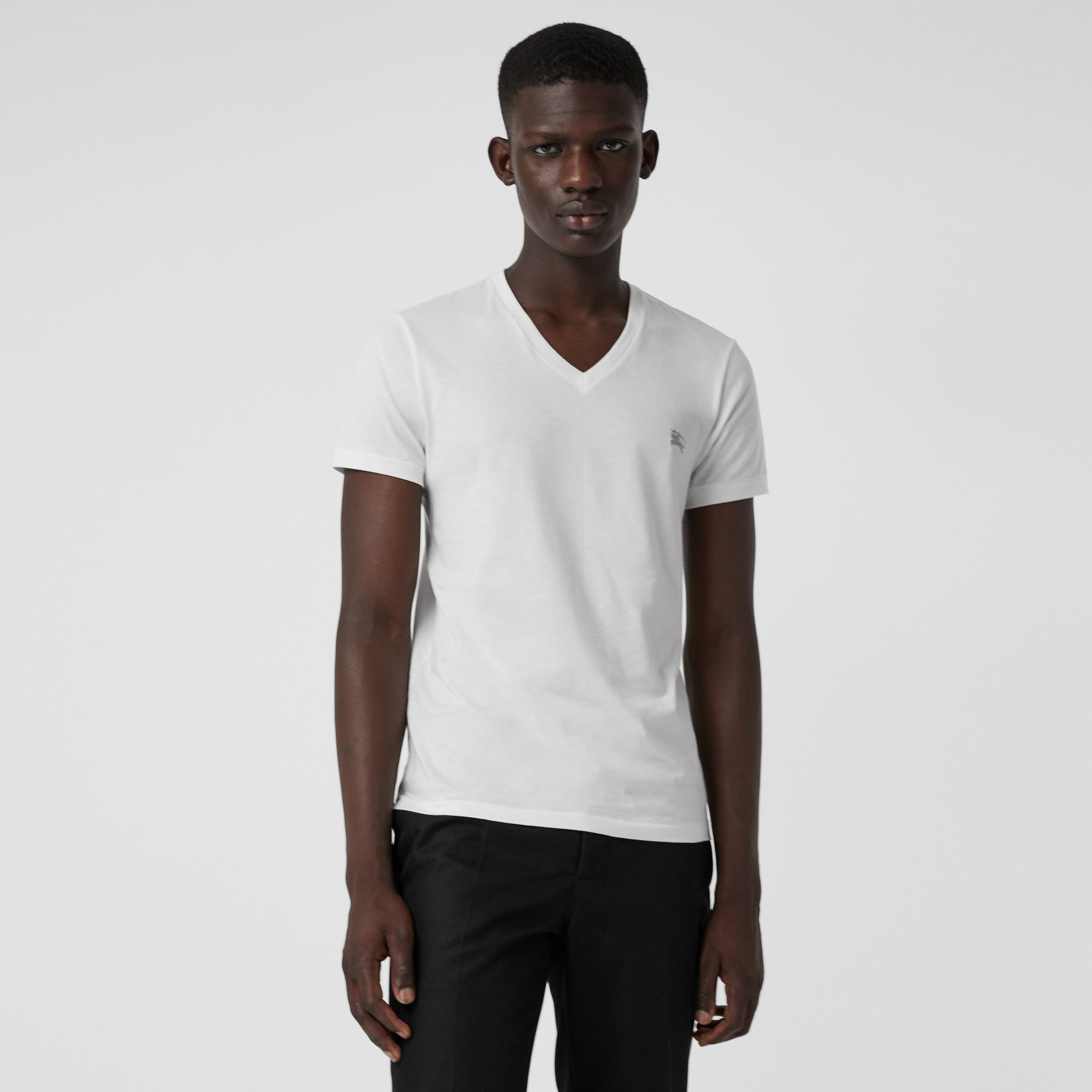 Cotton Jersey T-shirt in White - Men | Burberry Hong Kong - gallery image 0