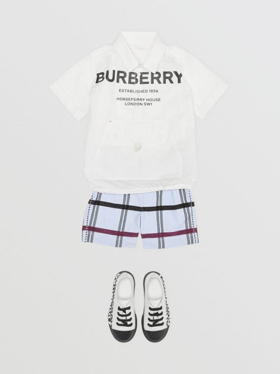 Short-sleeve Horseferry Print Cotton Shirt in White