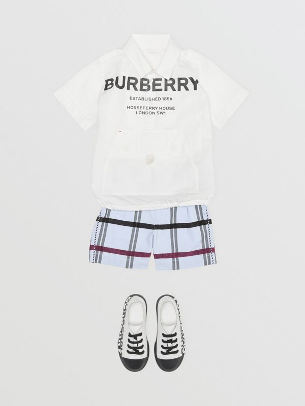 Short-sleeve Horseferry Print Cotton Shirt in White | Burberry United States - cell image 2