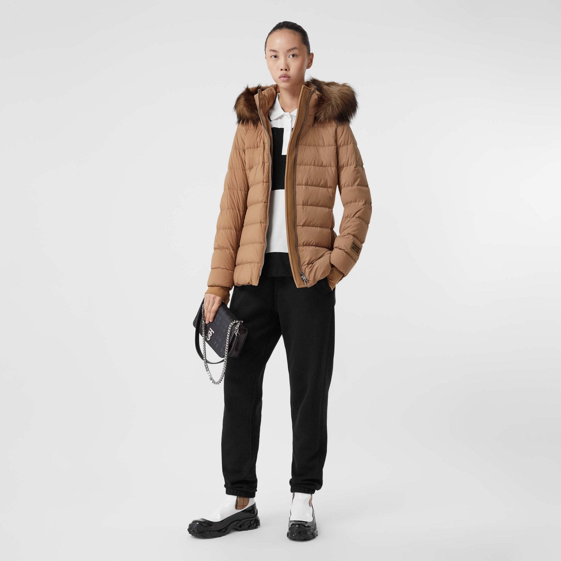 Faux Fur Trim Detachable Hood Puffer Jacket in Soft Camel - Women | Burberry United Kingdom - gallery image 0