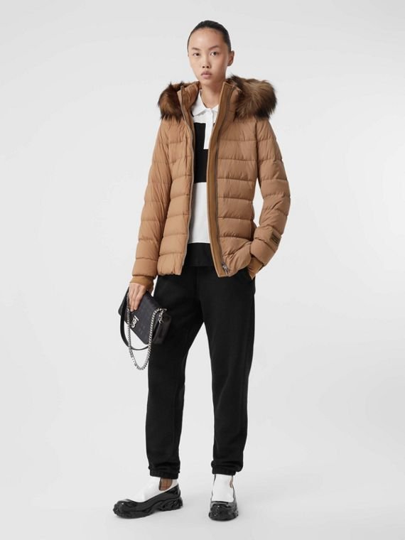 Faux Fur Trim Detachable Hood Puffer Jacket in Soft Camel