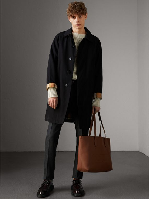Large Embossed Leather Tote in Chestnut Brown | Burberry - cell image 3