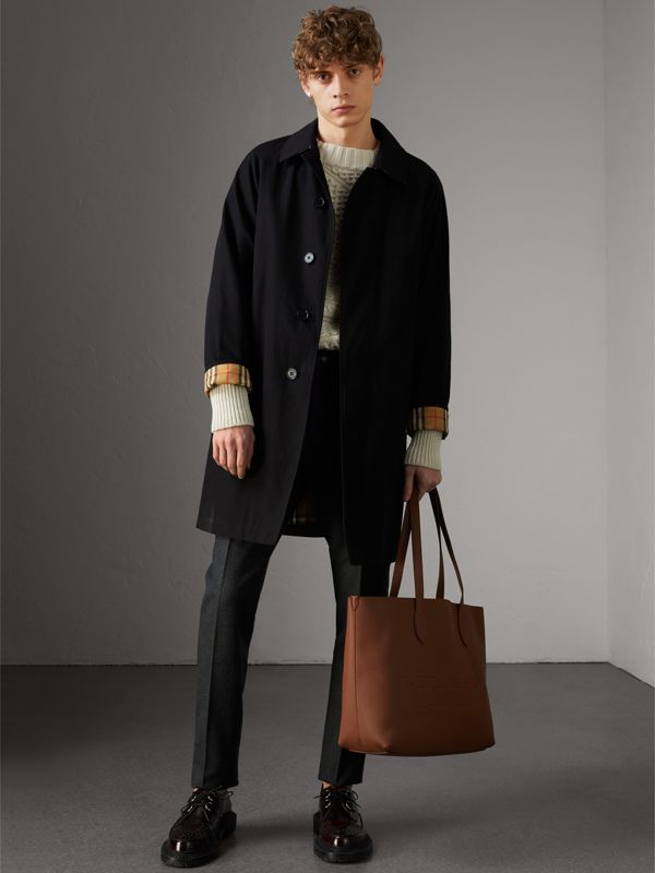 Embossed Leather Tote in Chestnut Brown | Burberry - cell image 3