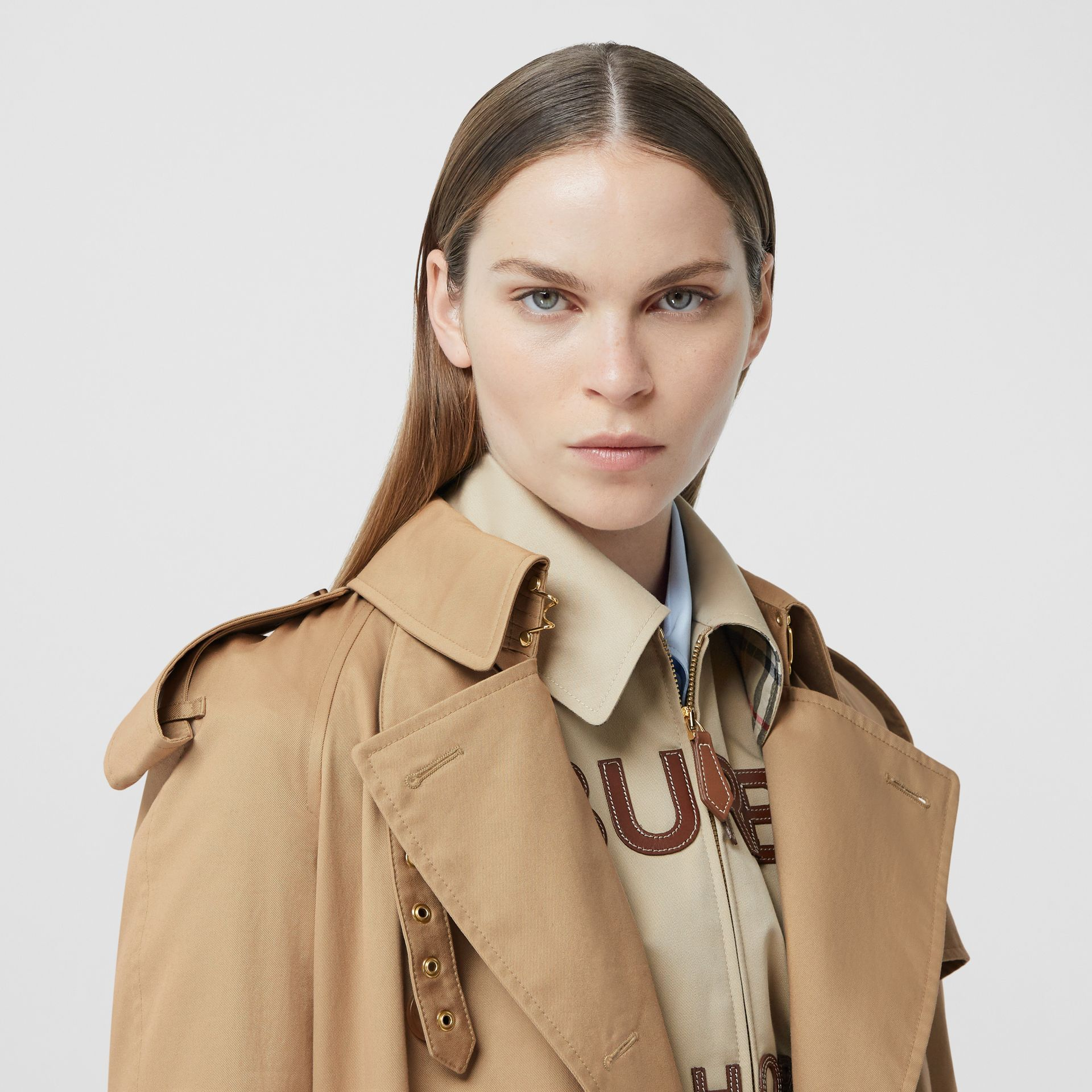 Extra Long Cotton Gabardine Trench Coat in Soft Fawn - Women | Burberry United Kingdom - gallery image 5