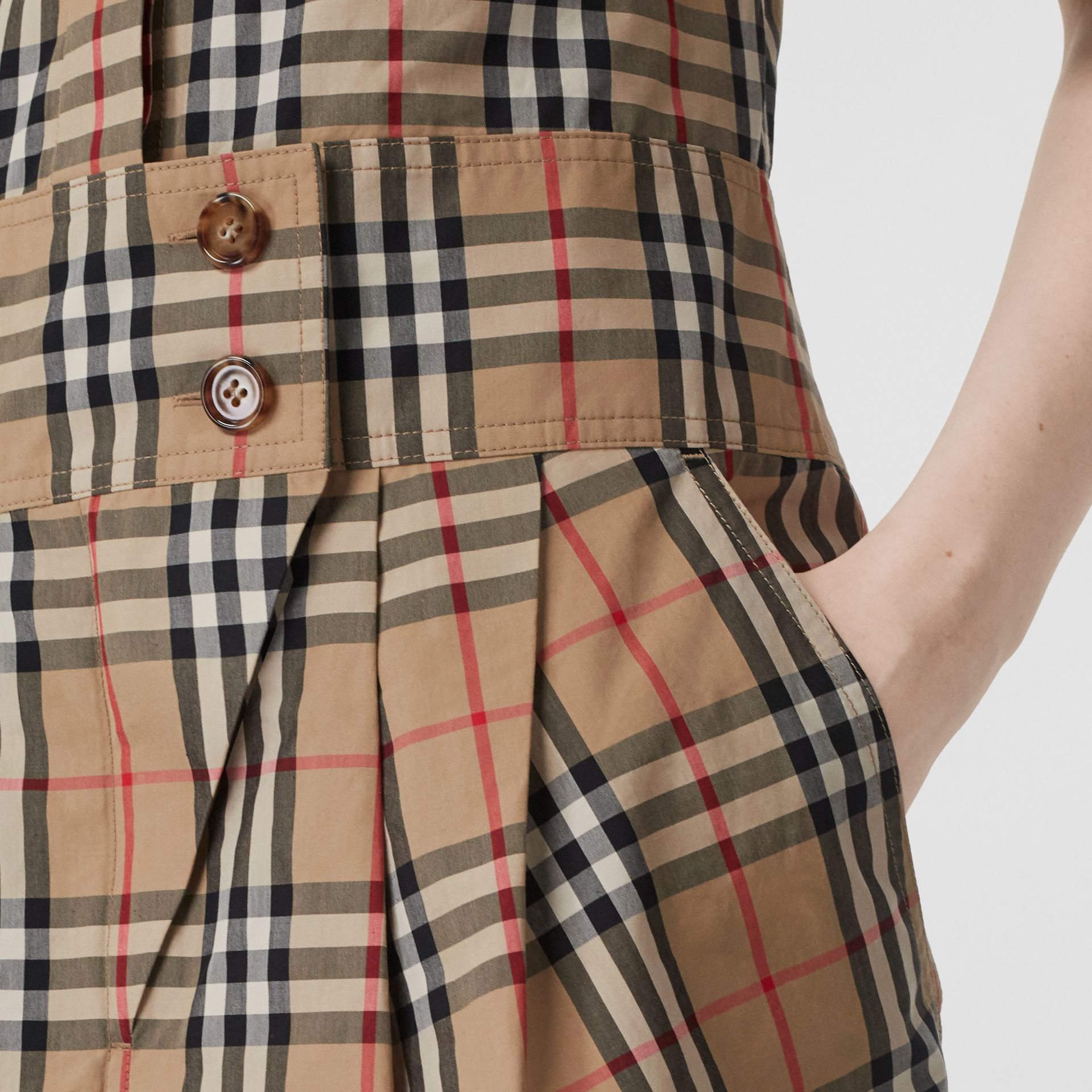 Short-sleeve Vintage Check Shirt Dress in Archive Beige - Women | Burberry - gallery image 4