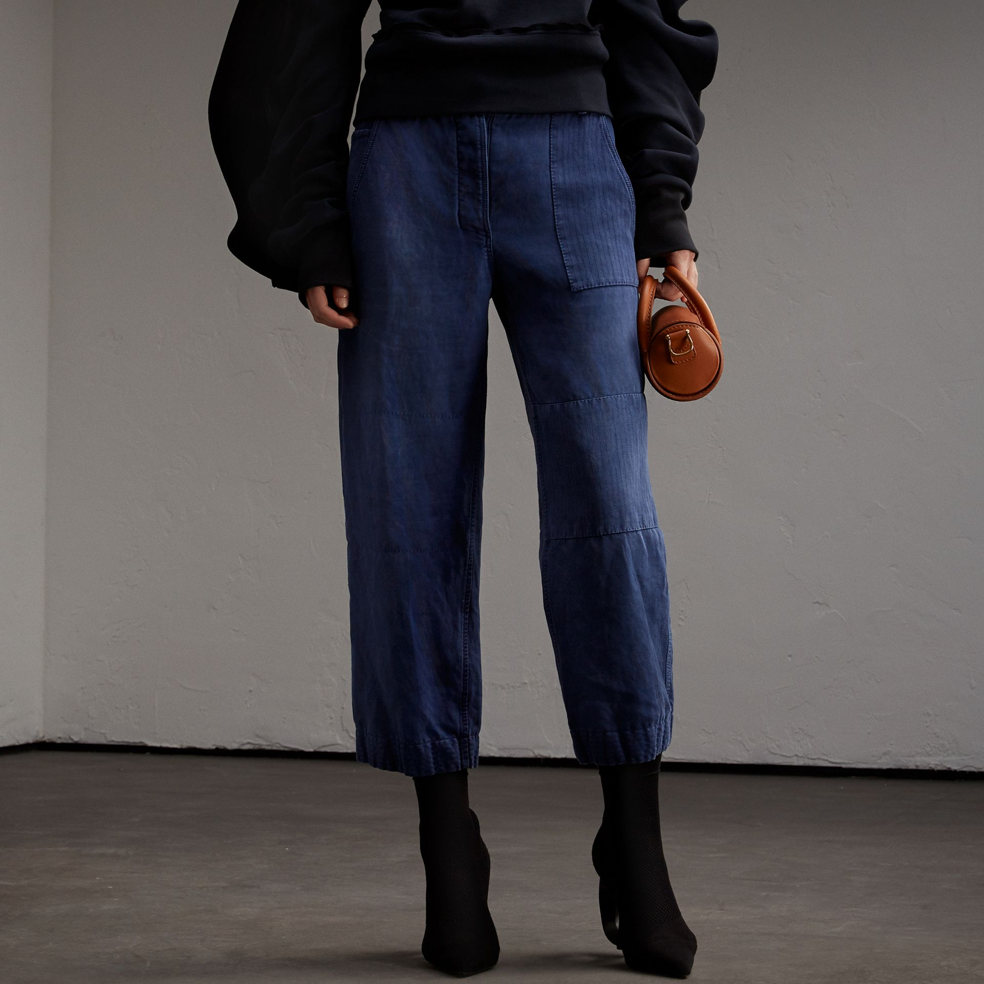 Ramie Cotton Cropped Workwear Trousers in Indigo - Women | Burberry - gallery image 1