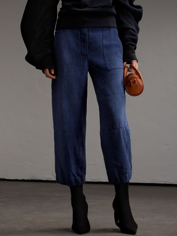 Ramie Cotton Cropped Workwear Trousers in Indigo