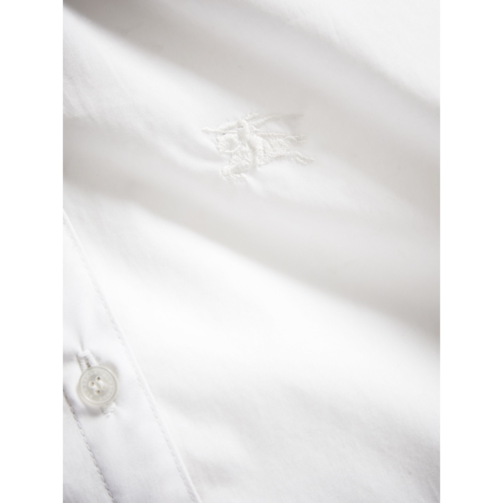 Peter Pan Collar Stretch Cotton Shirt in White - Girl | Burberry - gallery image 1