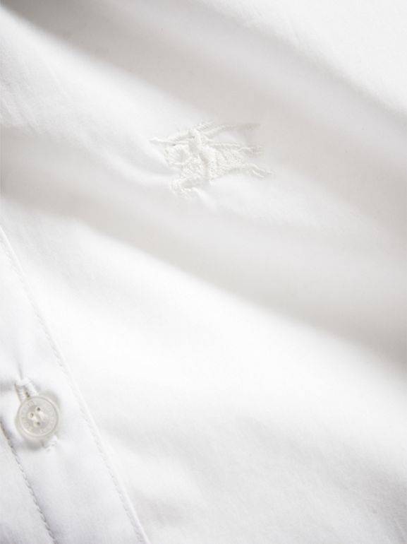 Peter Pan Collar Stretch Cotton Shirt in White | Burberry - cell image 1