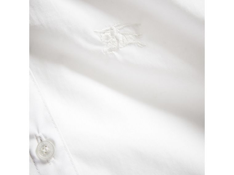 Peter Pan Collar Stretch Cotton Shirt in White - Girl | Burberry United Kingdom - cell image 1