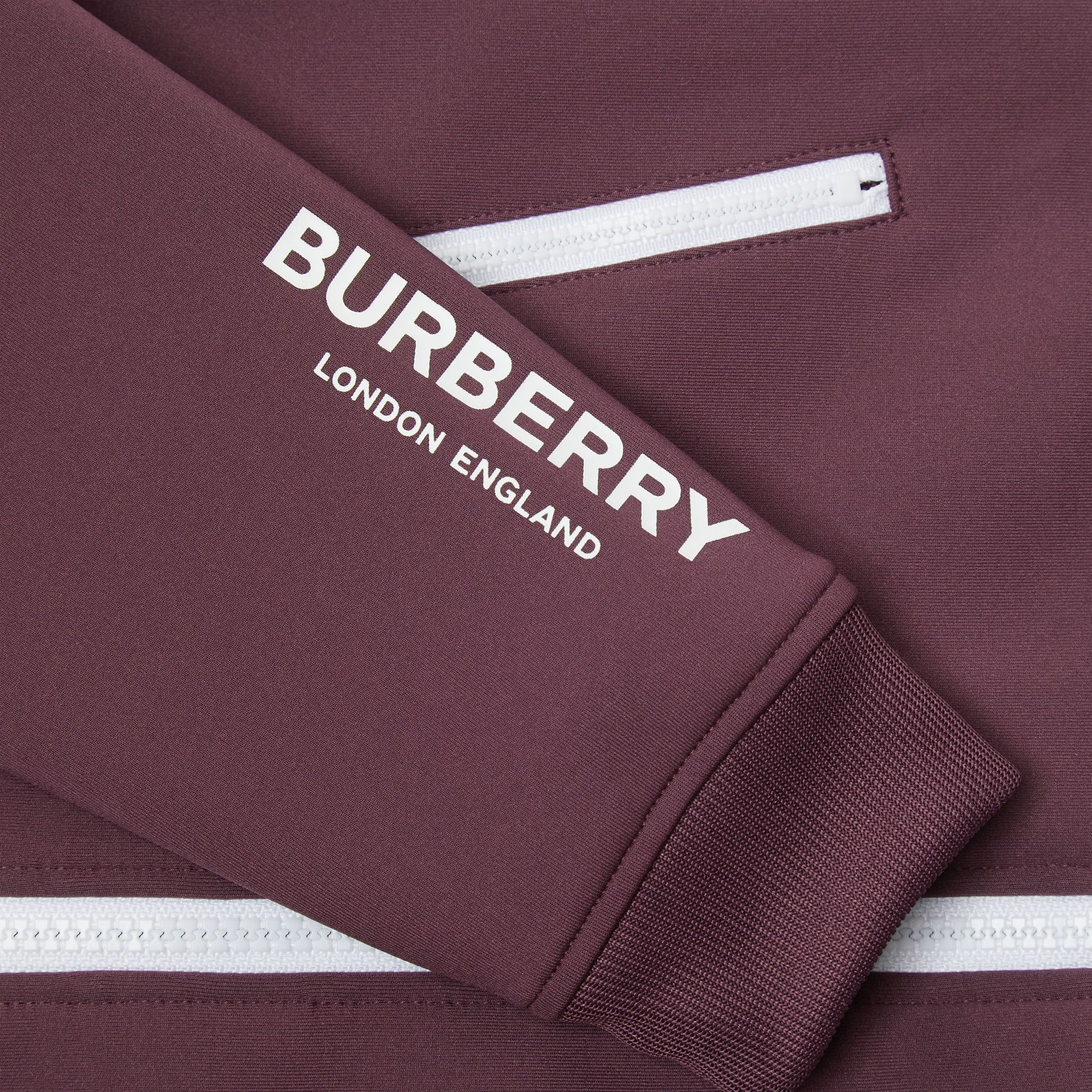 Logo Print Lightweight Track Top in Claret | Burberry - gallery image 1