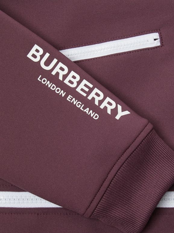 Logo Print Lightweight Track Top in Claret | Burberry - cell image 1