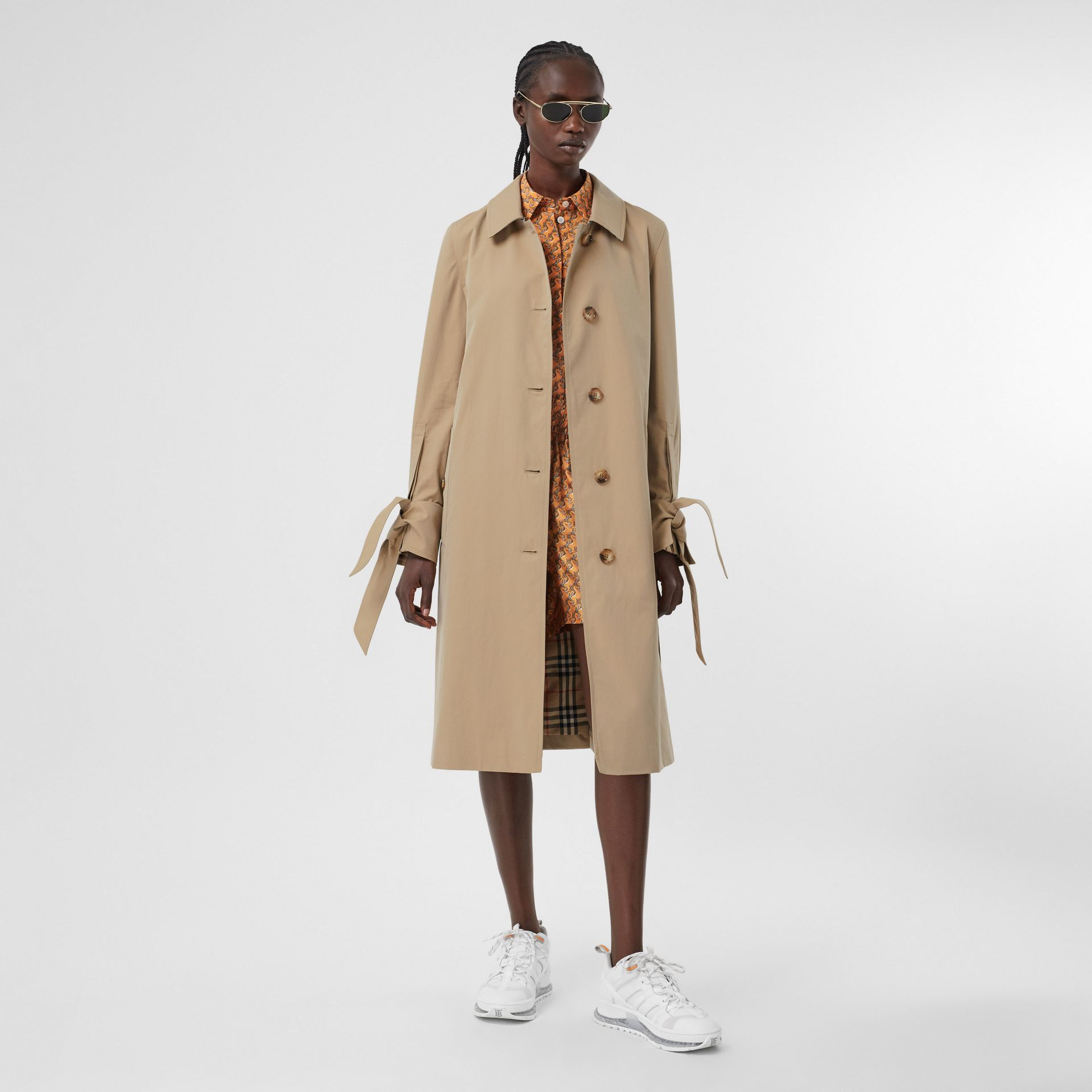 Tropical Gabardine Car Coat in Honey - Women | Burberry - gallery image 0