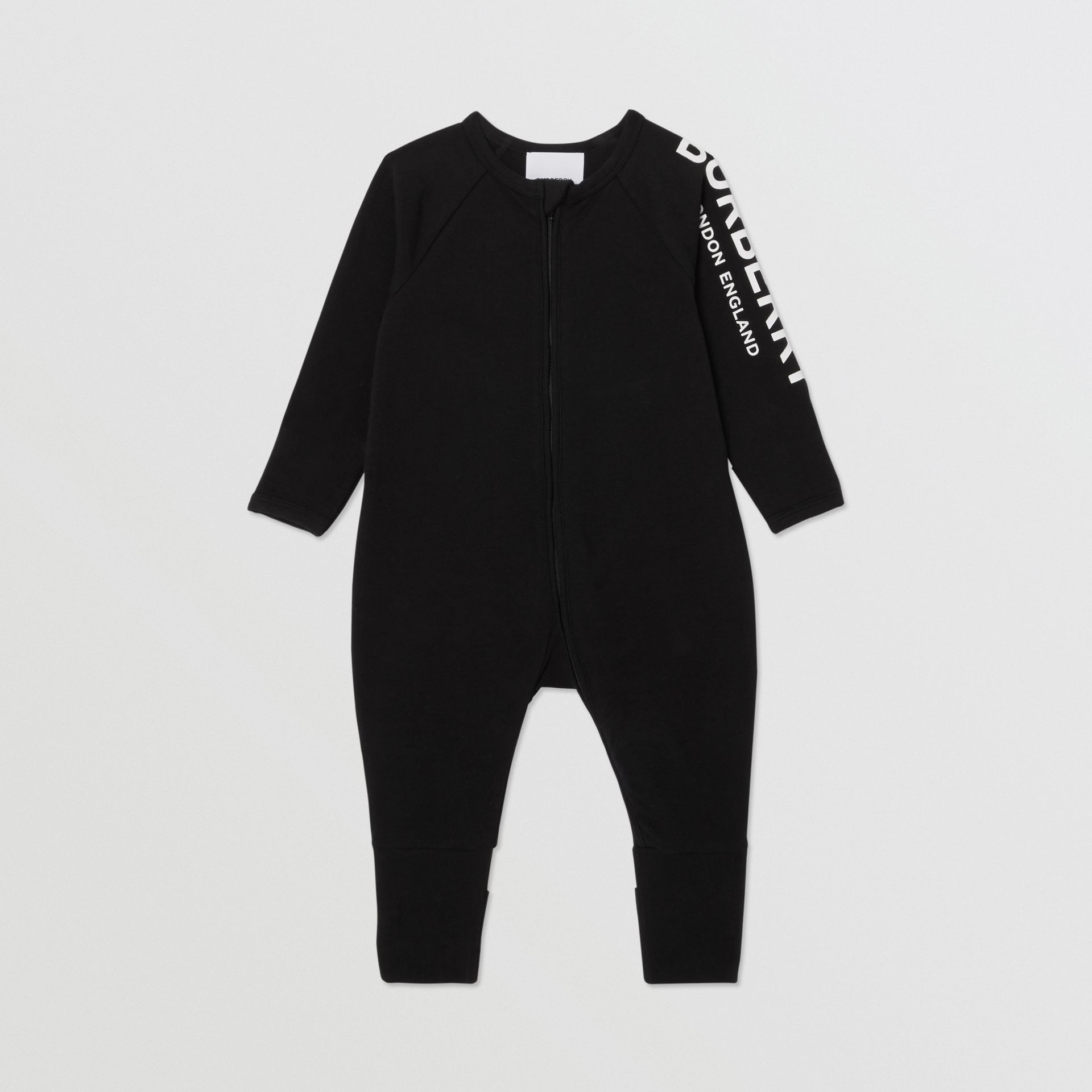 Logo Print Stretch Cotton Two-piece Baby Gift Set in Black - Children | Burberry United Kingdom - gallery image 2
