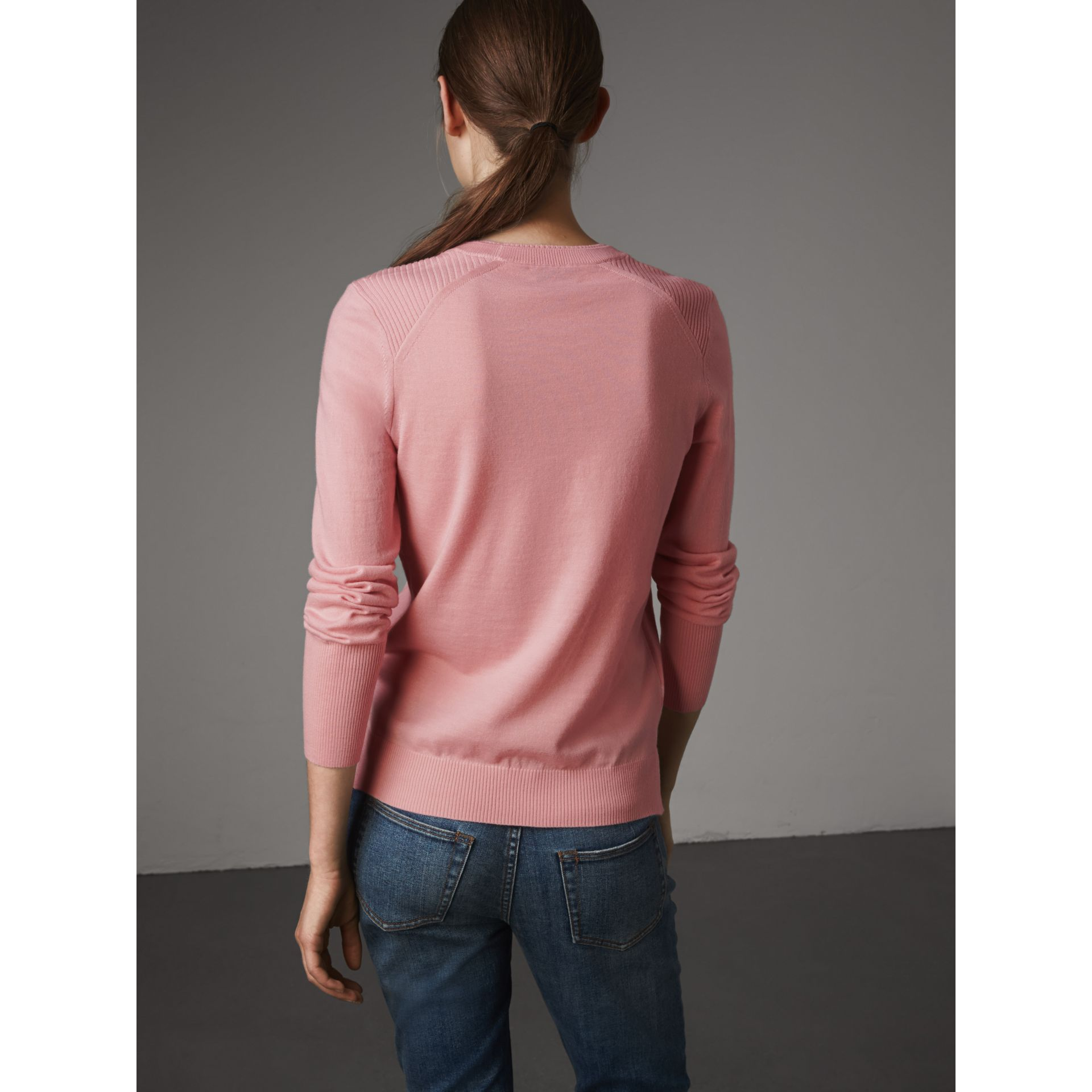 Check Detail Merino Wool Sweater in Apricot Pink - Women | Burberry - gallery image 3