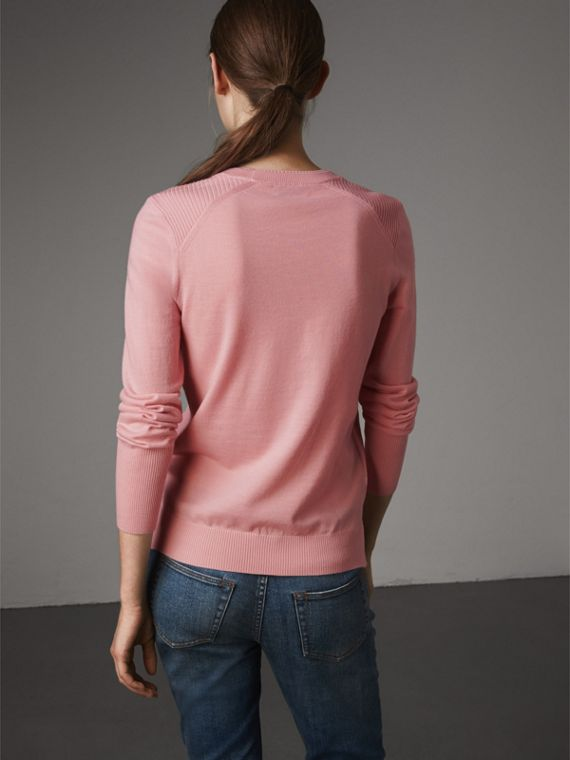 Check Detail Merino Wool Sweater in Apricot Pink - Women | Burberry - cell image 2