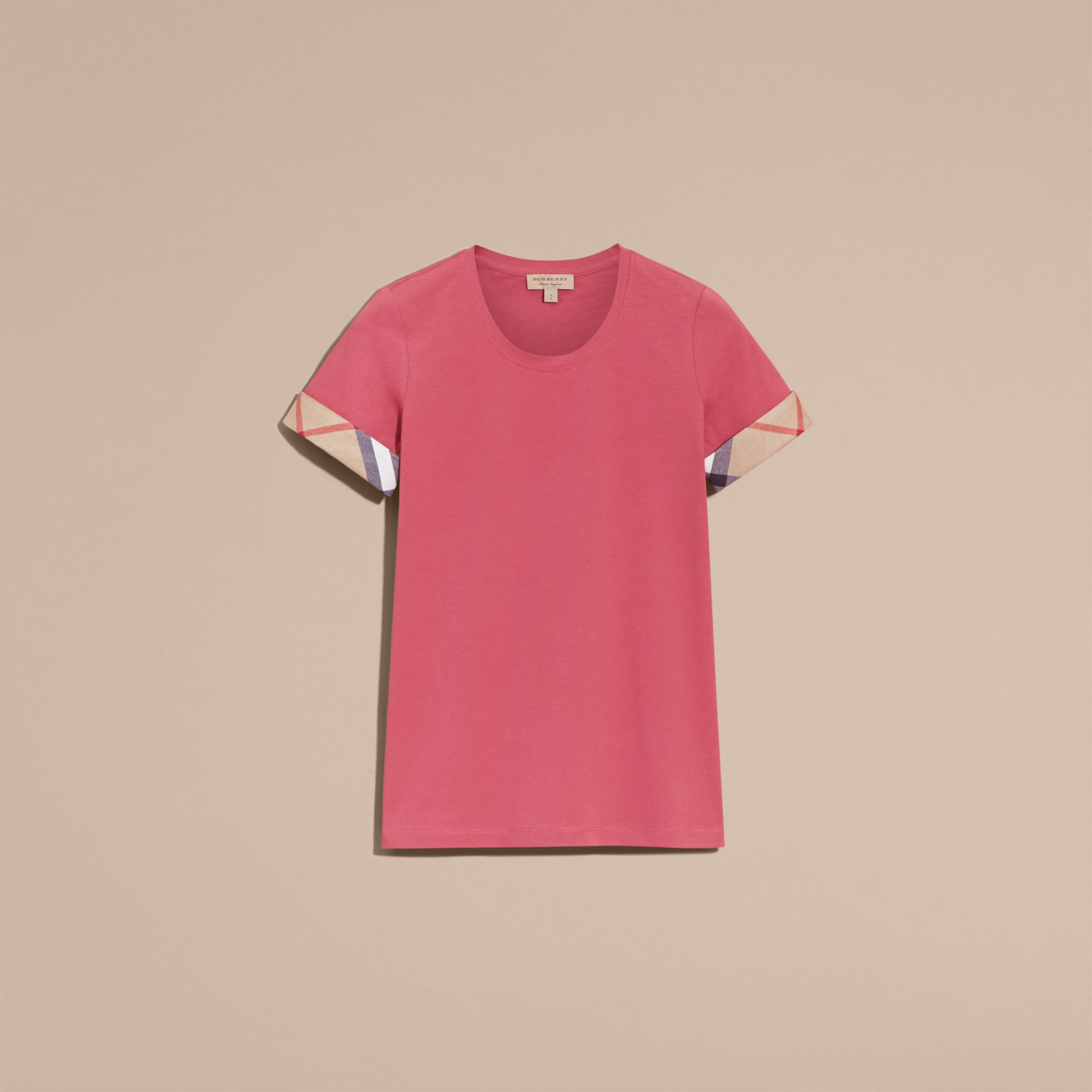 Check Trim Stretch Cotton T-shirt Pink Azalea - gallery image 4