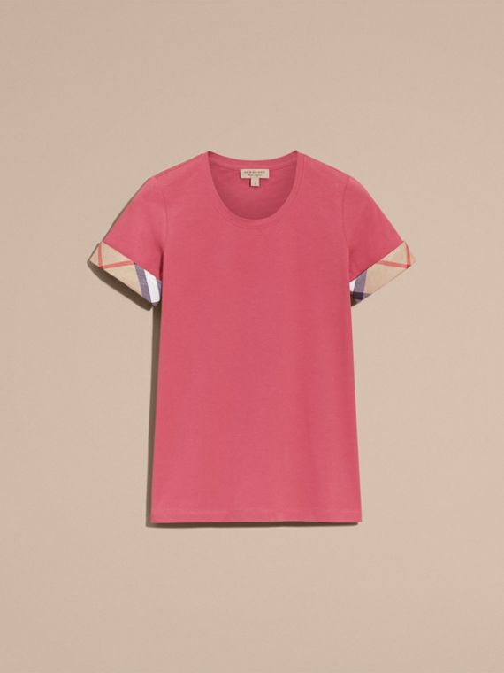 Pink azalea Check Trim Stretch Cotton T-shirt Pink Azalea - cell image 3