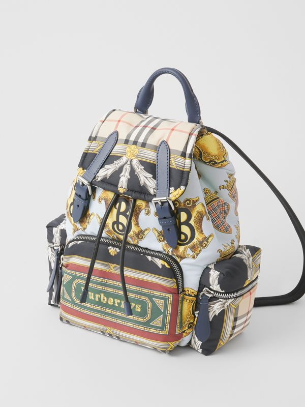 The Medium Rucksack in Archive Scarf Print in Ink Blue - Women | Burberry - cell image 3