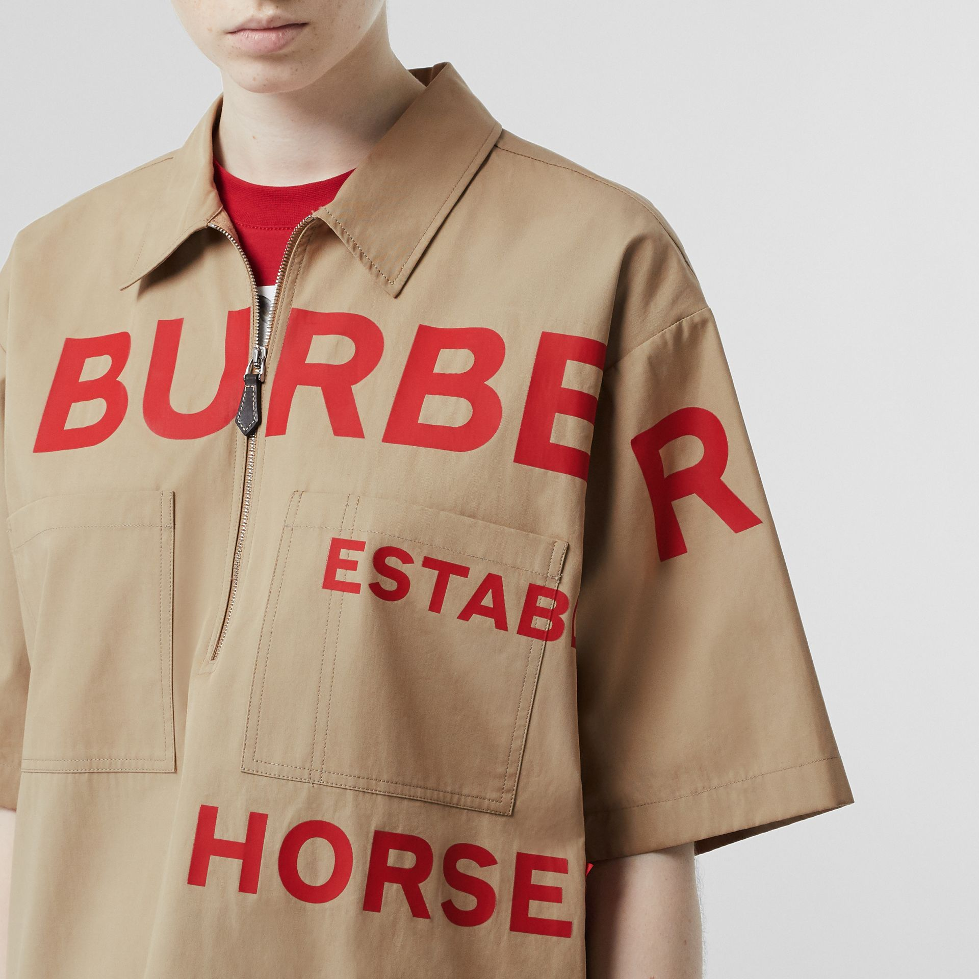 Short-sleeve Horseferry Print Cotton Oversized Shirt in Honey - Women | Burberry - gallery image 1
