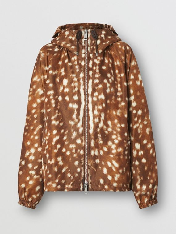 Deer Print Nylon Hooded Jacket in Honey