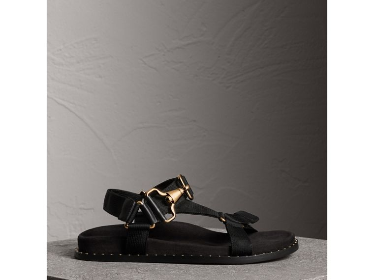 Hardware Detail Strappy Sandals in Black - Women | Burberry - cell image 4