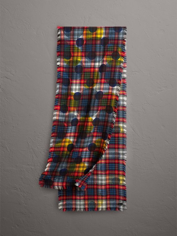 Dot Print Tartan Wool Scarf in Bright Red