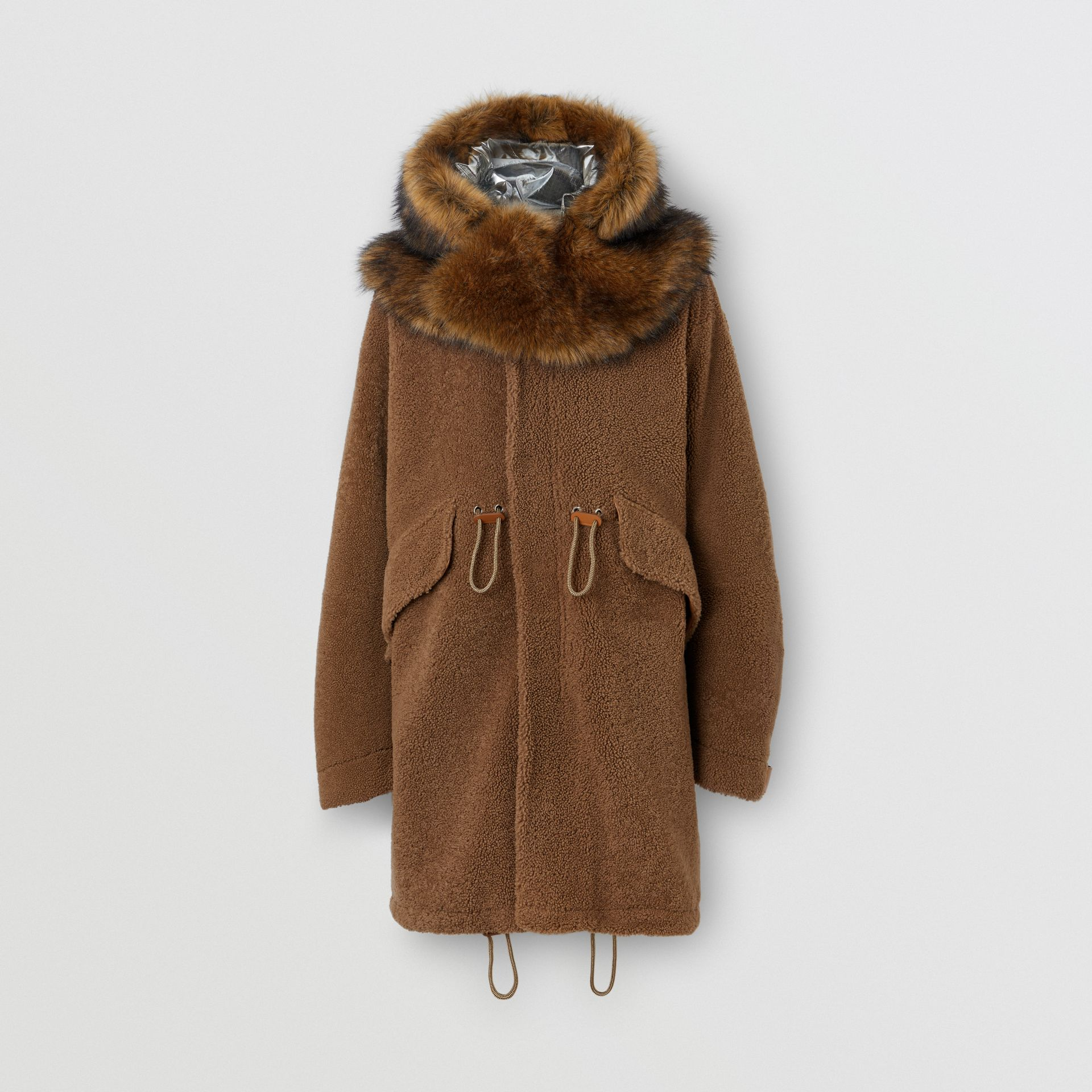 Shearling Parka with Detachable Hood and Jacket in Pale Coffee - Men | Burberry - gallery image 3