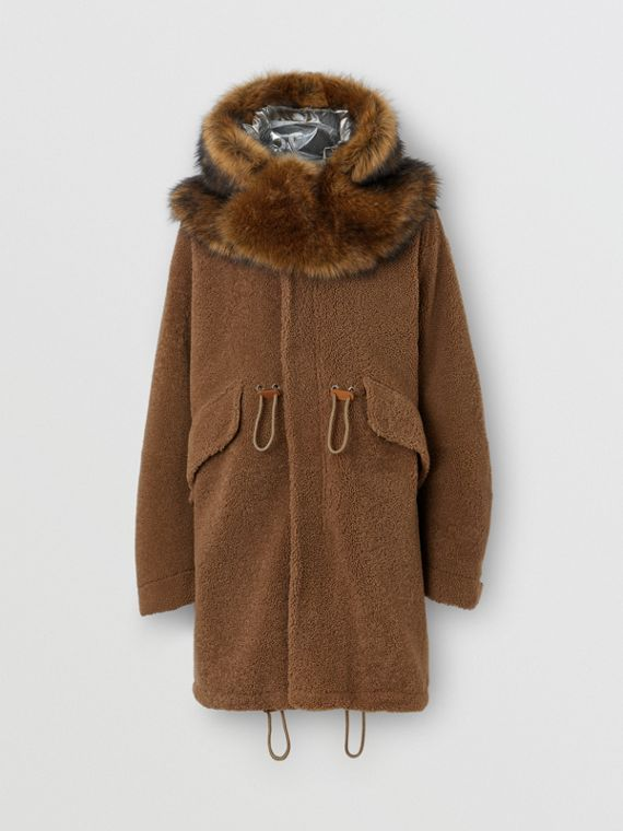 Shearling Parka with Detachable Hood and Jacket in Pale Coffee