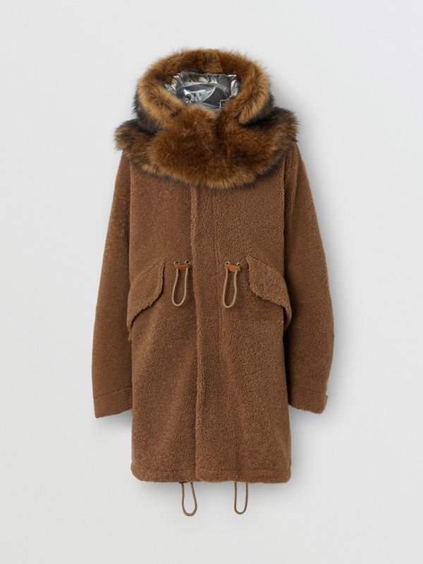 Shearling Parka with Detachable Hood and Jacket in Pale Coffee - Men | Burberry Australia - cell image 2
