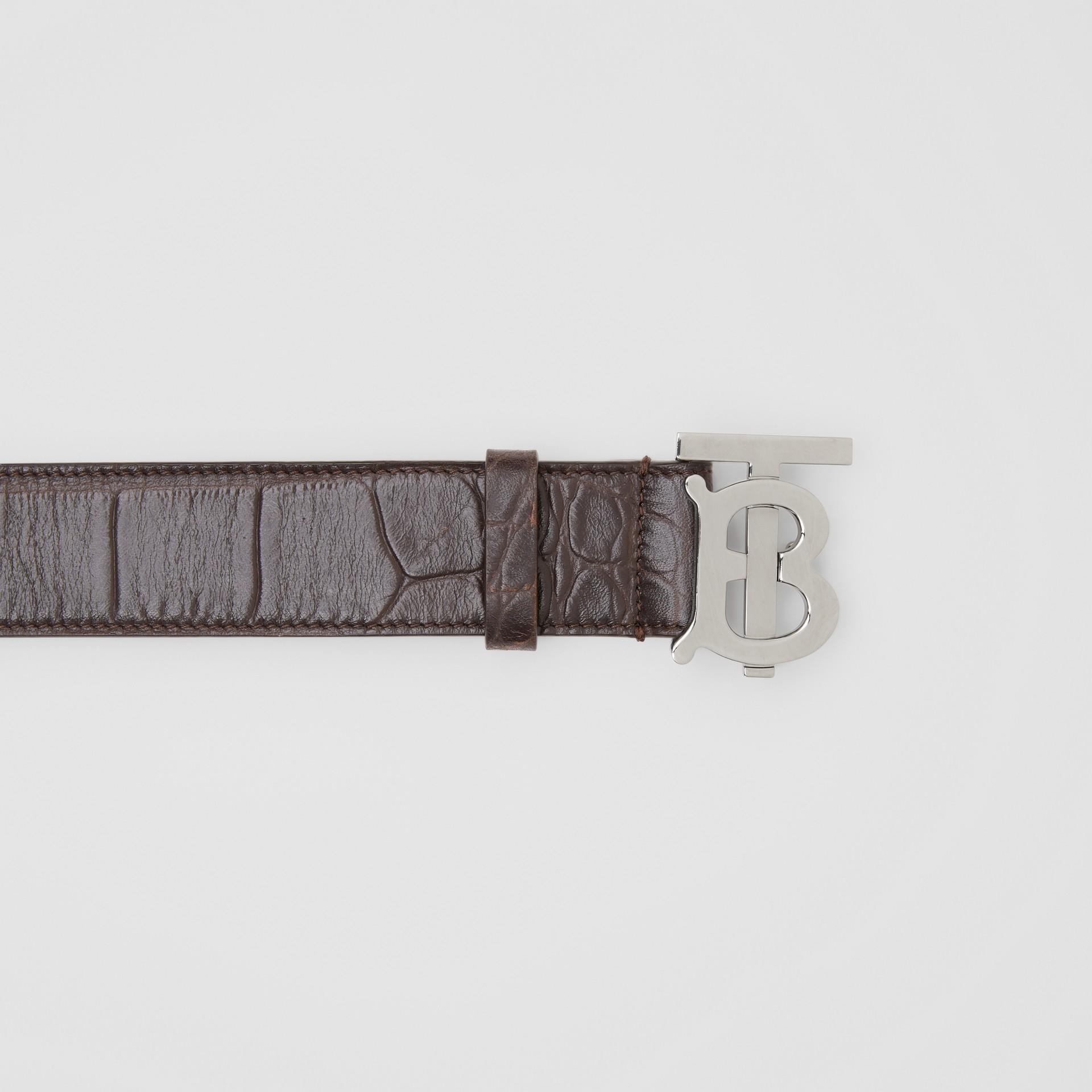 Monogram Motif Embossed Leather Belt in Brown - Men | Burberry - gallery image 1