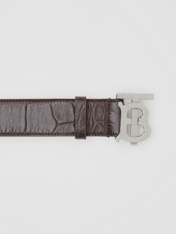 Monogram Motif Embossed Leather Belt in Brown - Men | Burberry United Kingdom - cell image 1