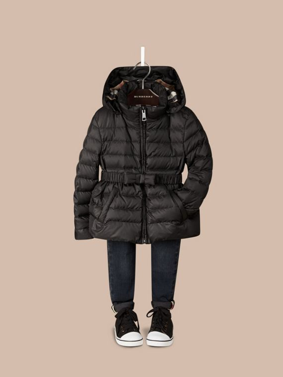 Bow Detail Puffer Jacket Black
