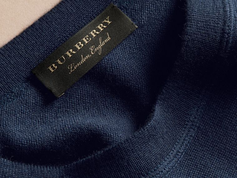 Crew Neck Cashmere Sweater Slate Blue - cell image 1