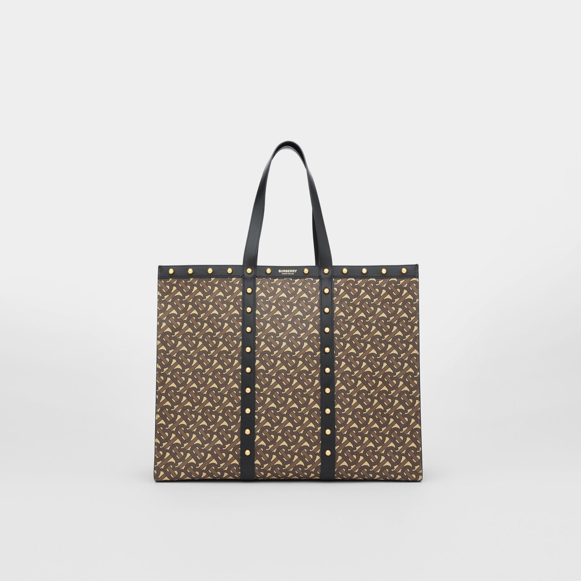Monogram Print E-canvas Tote Bag in Black | Burberry - gallery image 0