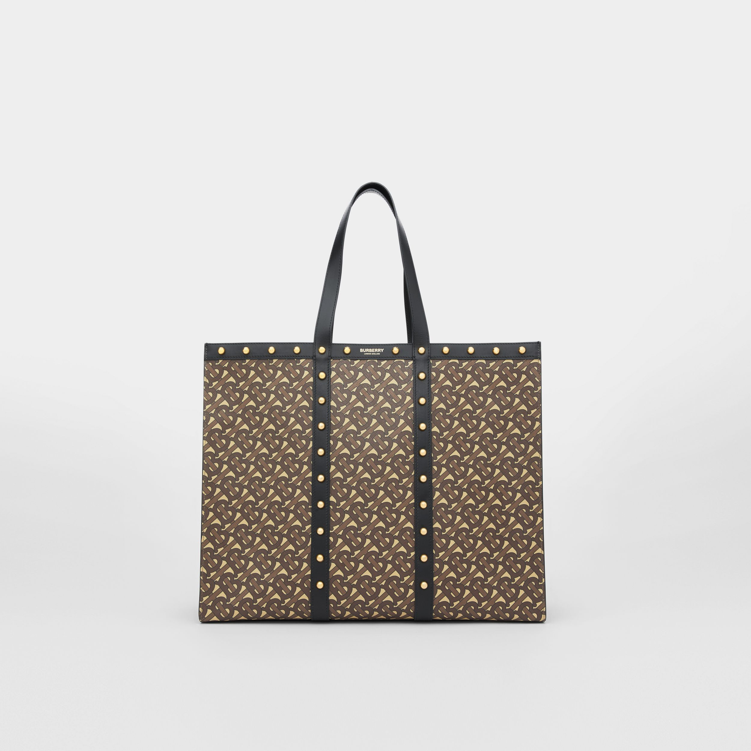 Monogram Print E-canvas Tote Bag in Black | Burberry Australia - 1