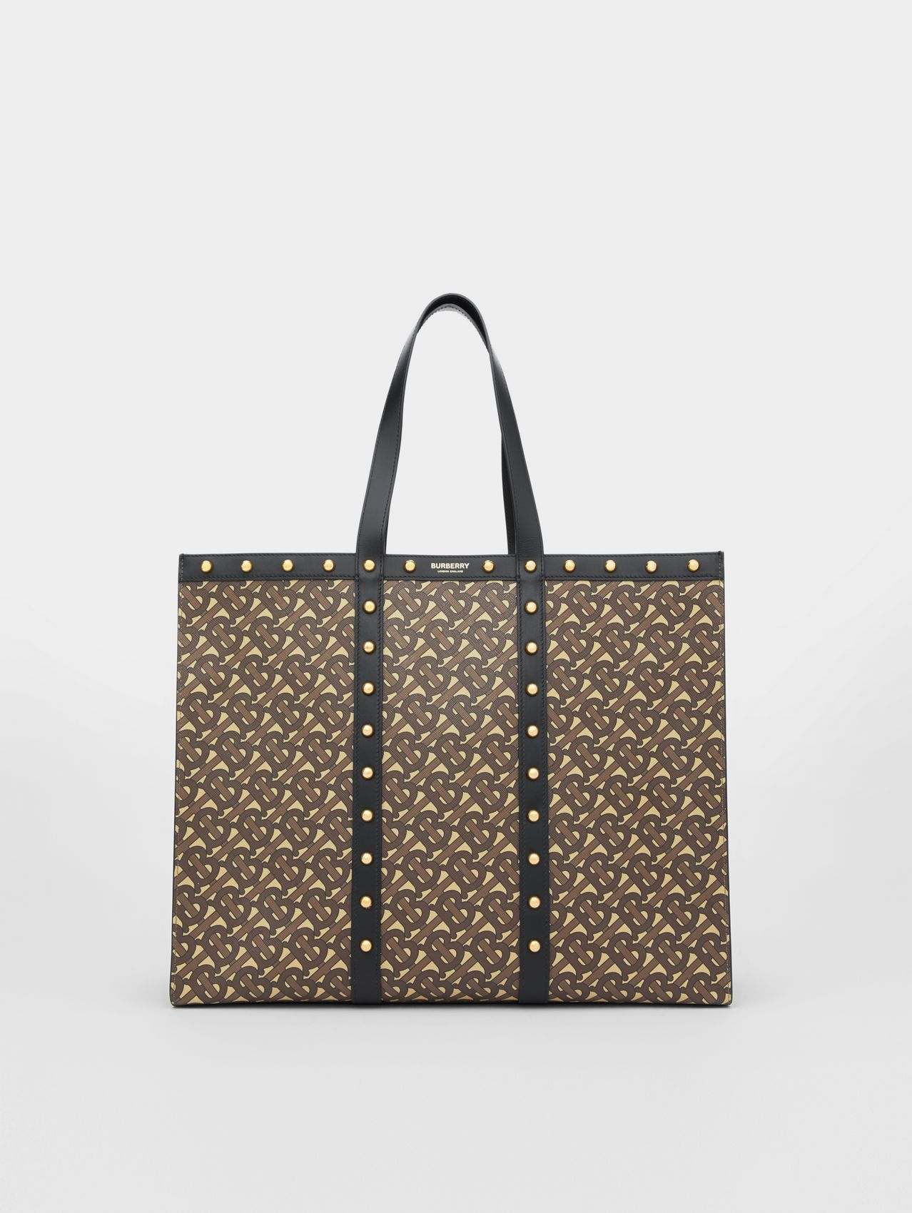 Monogram Print E-canvas Tote Bag in Black
