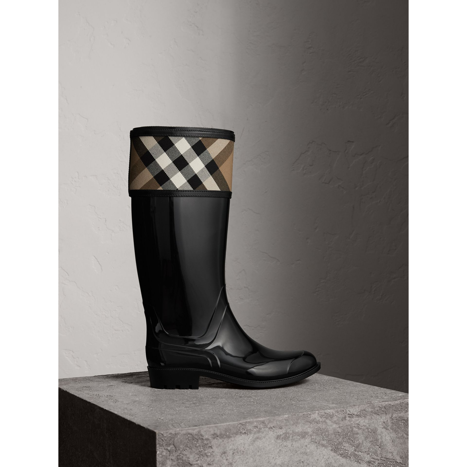House Check Rain Boots in Black - Women | Burberry - gallery image 0