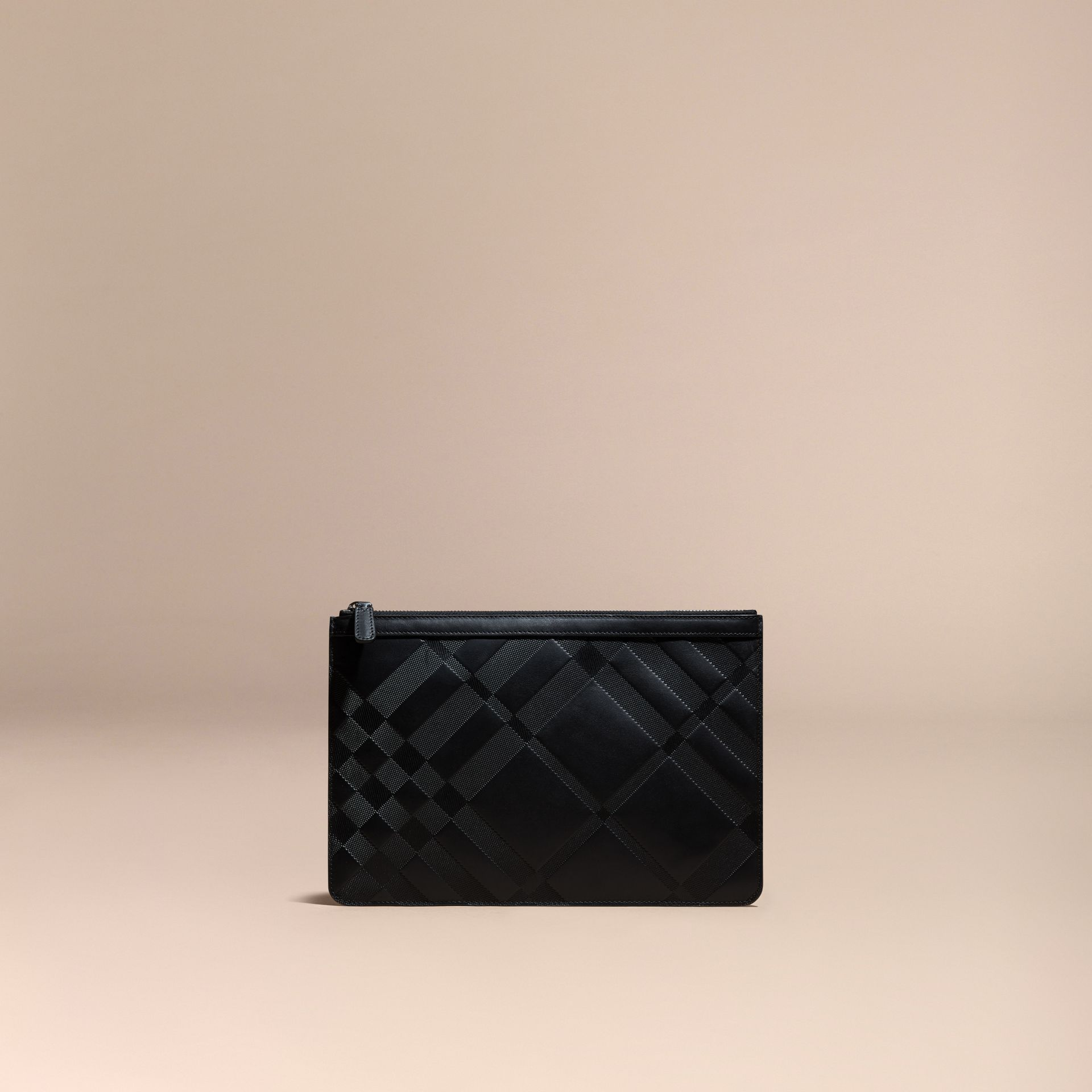 Black Check-embossed Leather Pouch Black - gallery image 6